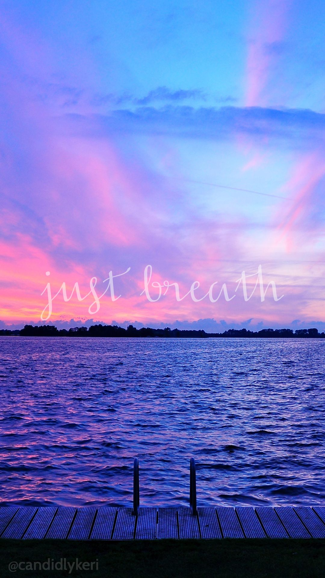 Just Breathe sunset ocean view pink and purple sky