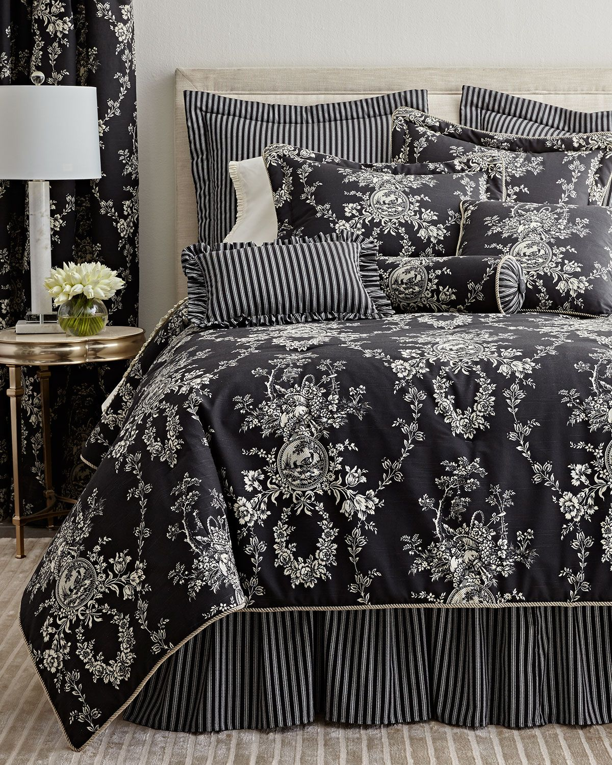 Blue and white toile bedding - Sherry Kline Home Collection King French Toile Comforter Set Queen French Toile Comforter Set European French Toile Striped Sham