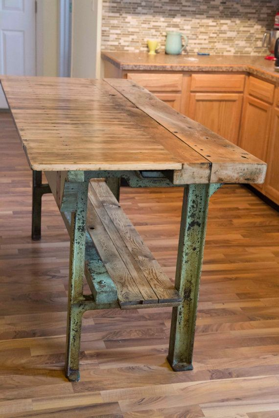 Vintage Industrial Kitchen Island On Etsy, $750.00