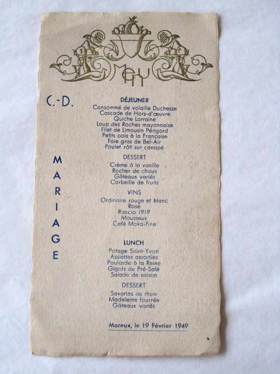 Original Vintage French Wedding Menu Dated 19 February 1949 By Vintagefrenchfinds 20 00