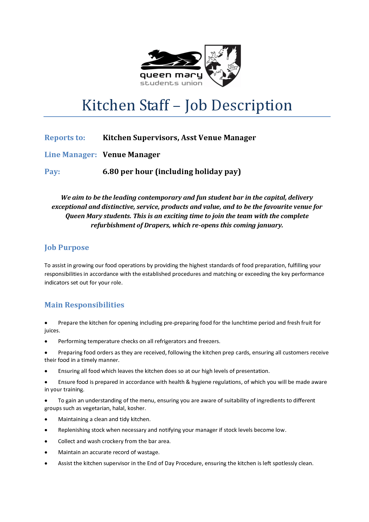 Kitchen Job Description