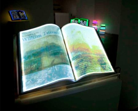 LED lights inside amazing book-shaped sculptures were programmed to continually change brightness and colors. Glowing books represent real books that have inspired the artist.
