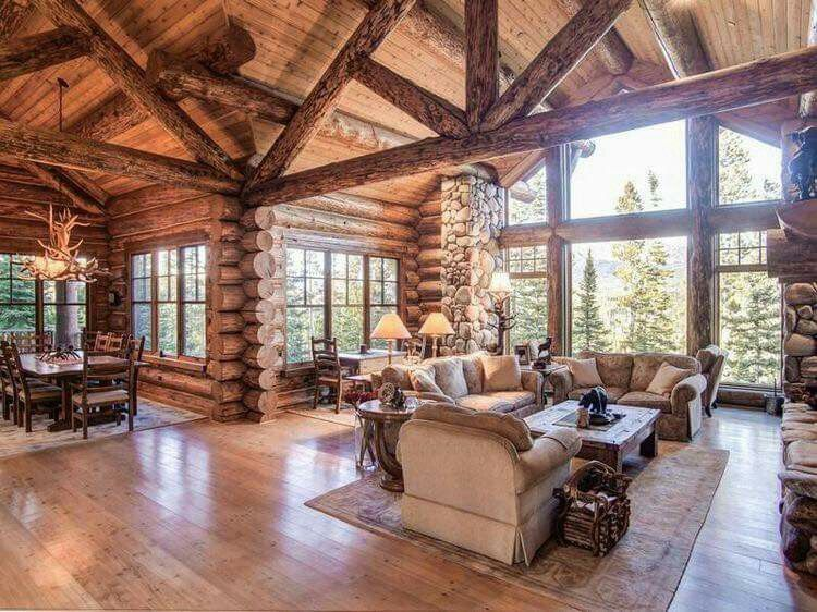 Love the open space of this cabin in my dreams for Log cabin open floor plans