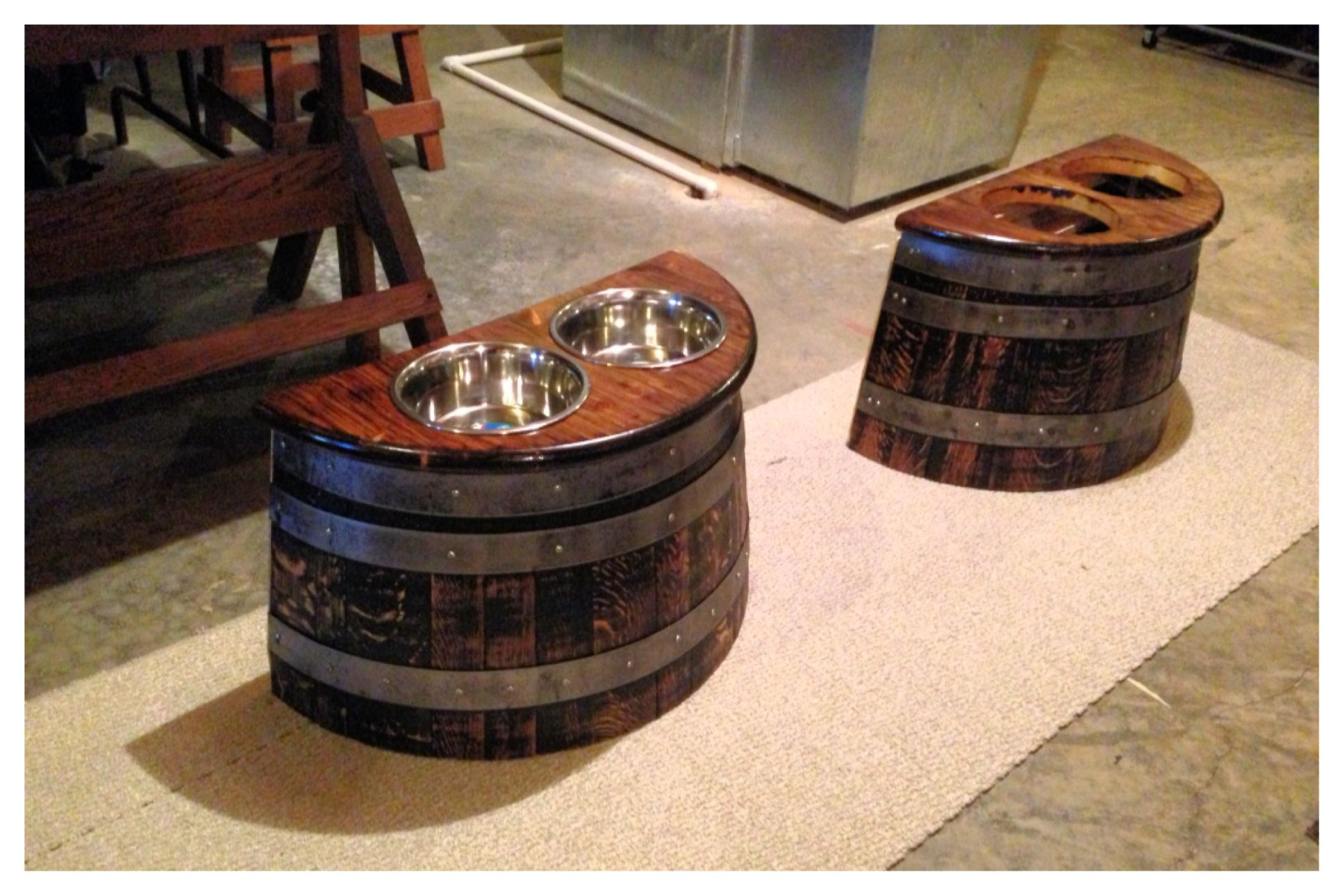 Save Over 200 Make Your Own Whiskey Barrel Dog Feeders 1 30 Whiskey Wine Barrel Planter From Lowes 50 I With Images Barrel Decor Wine Barrel Furniture Wine Barrel
