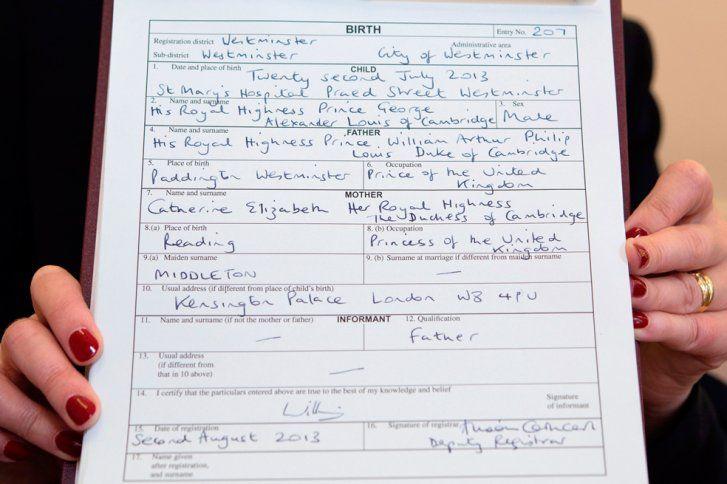 Certificado nacimiento Principe George Inglaterra | Varias ...