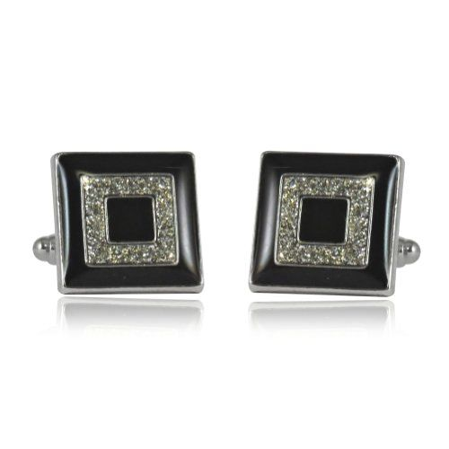 Black and Silver Concentric Diamond Dust Cufflinks with Gift Box - List price: $99.99 Price: $28.99