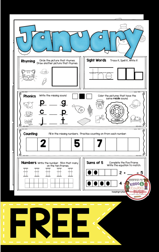 FREE Morning Work For Kindergarten - January Worksheets - Snoman Printables  FREEBIE #kinderga… Kindergarten Morning Work, Free Morning Work, Teaching  Kindergarten