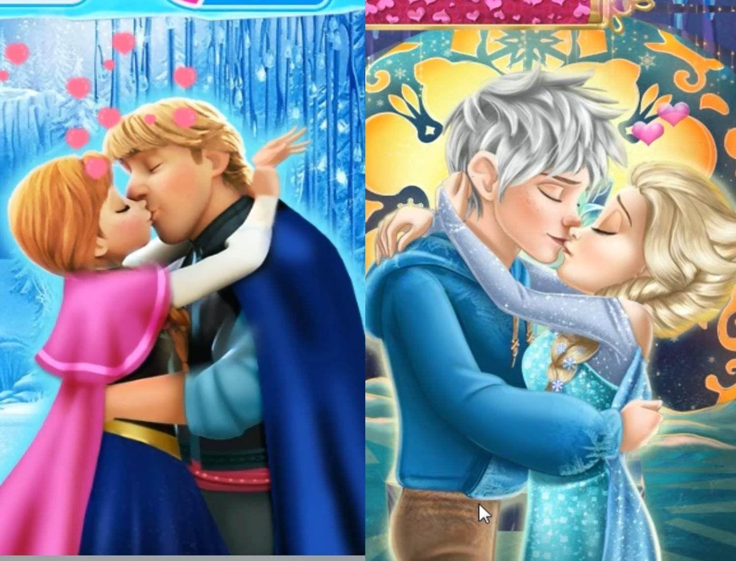 Disney Princess Elsa Anna and Snow White Kissing Compilation Games