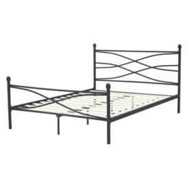 Helena Black Decorative Metal Platform Slat Bed Full Metal Bed