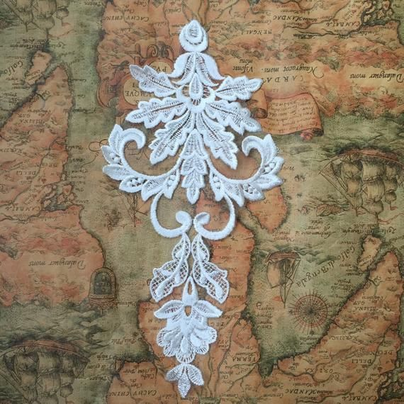 Embroidery Lace Motif ,Bridal Mesh Embroidery Lace Collar ,Lace Motif for Wedding Dress #spitzeapplique