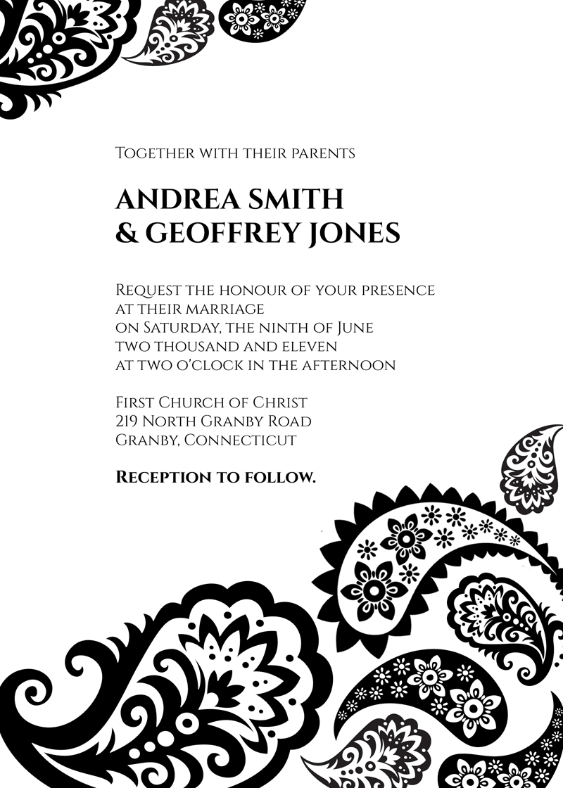 Paisley wedding invitation template free to download Easy to use