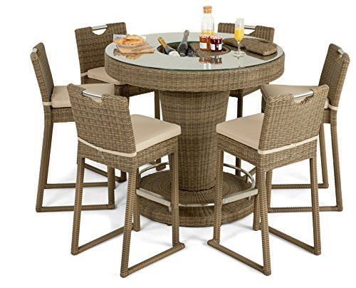 Maze Rattan Winchester 6 Seater Round Bar Set and Luxury Inset Ice ...