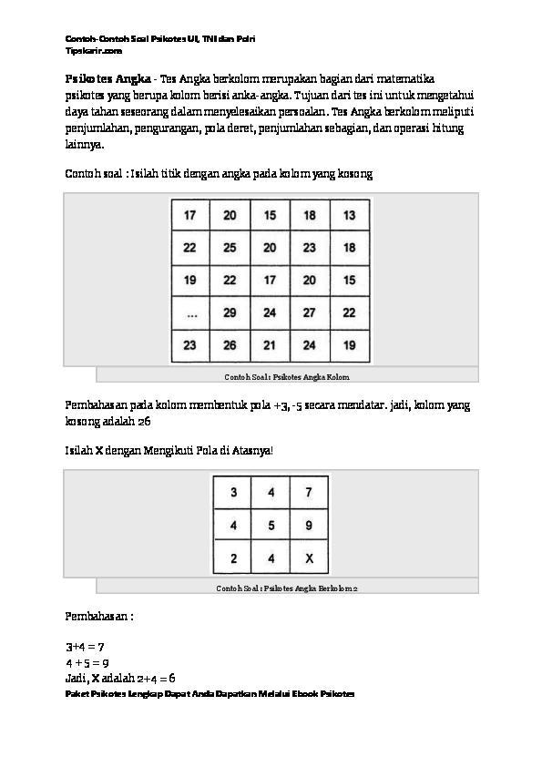 Contoh Soal Dan Materi Pelajaran 9 Contoh Soal Psikotes Kepribadian Polri Psikologi Buku Matematika