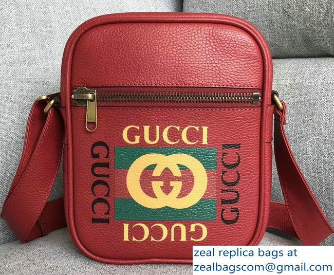 8ee1766a1812b9 Gucci Vintage Logo Print Messenger Bag 523591 Red 2018 | Bags | Bags ...