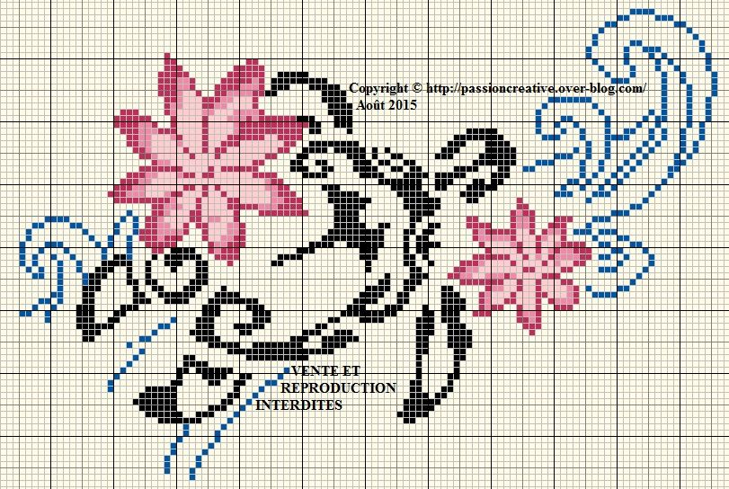 Grille gratuite point de croix tortue et fleurs le blog de isabelle id es pour la maison - D m c broderie grilles gratuites ...
