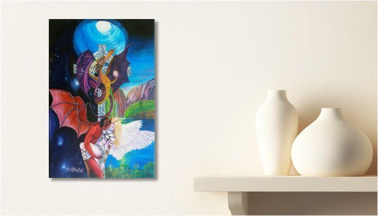 Tableau #dragon Peinture ANGE ET DÉMON une toile de #DRAGONUS