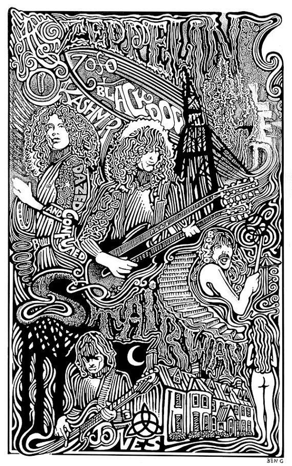 Led Zeppelin Poster Stairway To Heaven By Posterography Led Zeppelin Poster Psychedelic Art