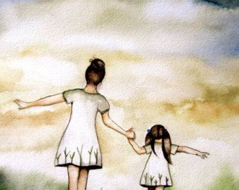 Mother And Daughter Our Walk Mothers Day Gift Idea Art Print En