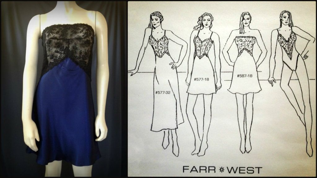 """From the Farr West """"Night Music"""" collection (1997). This strapless chemise was made with stretch French lace and available in a range of rich jewel tones."""