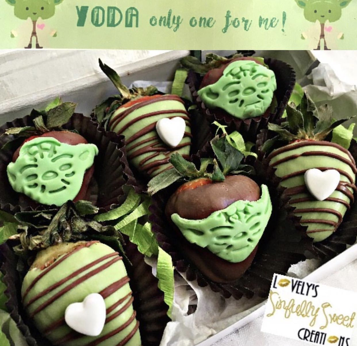 Yoda chocolate covered strawberries Chocolate covered