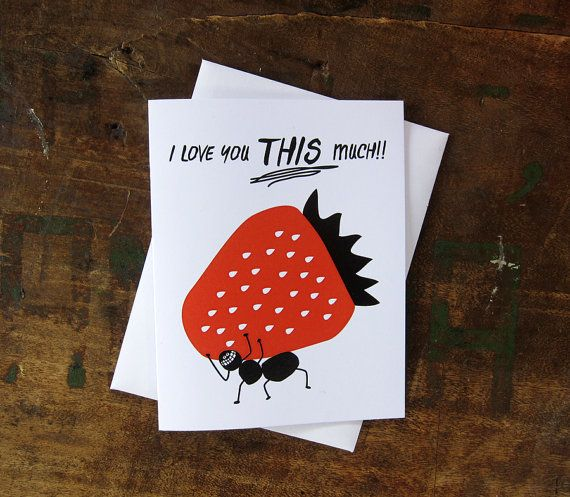 valentine card anniversary love card strawberry vs ant by thebeautifulproject on etsy - Etsy Valentines Cards