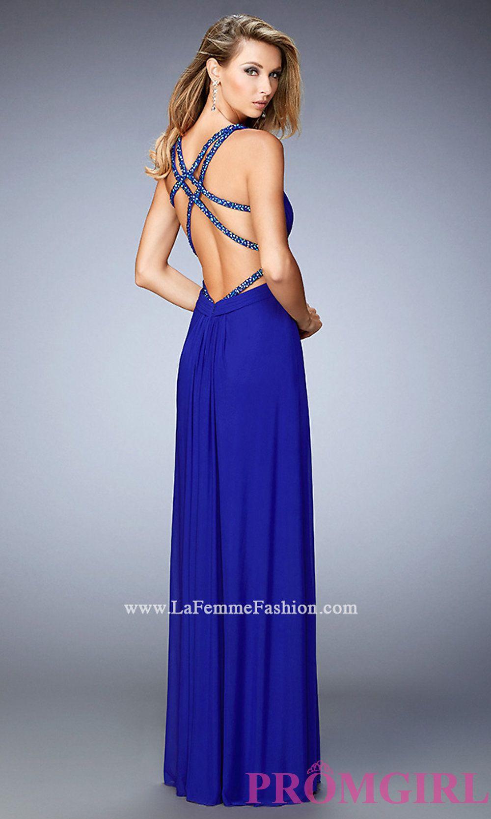Long La Femme V Neck Open Back Dress Style Lf 22089 Prom