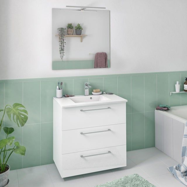Meuble Simple Vasque L 60 X H 73 X P 46 Cm Blanc Remix En 2020 Meuble De Salle De Bain Meuble Salle De Bain Leroymerlin Salle De Bain