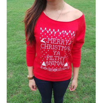 Merry Christmas Ya Filthy Animal- Ugly Christmas Sweater - Off The ...