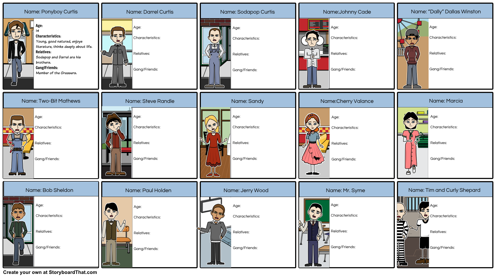 The Outsiders Lesson Plans Using Story Boarding Character
