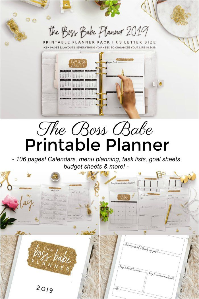 The Boss Babe 2019 Planner Printable 106 Pages To Plan