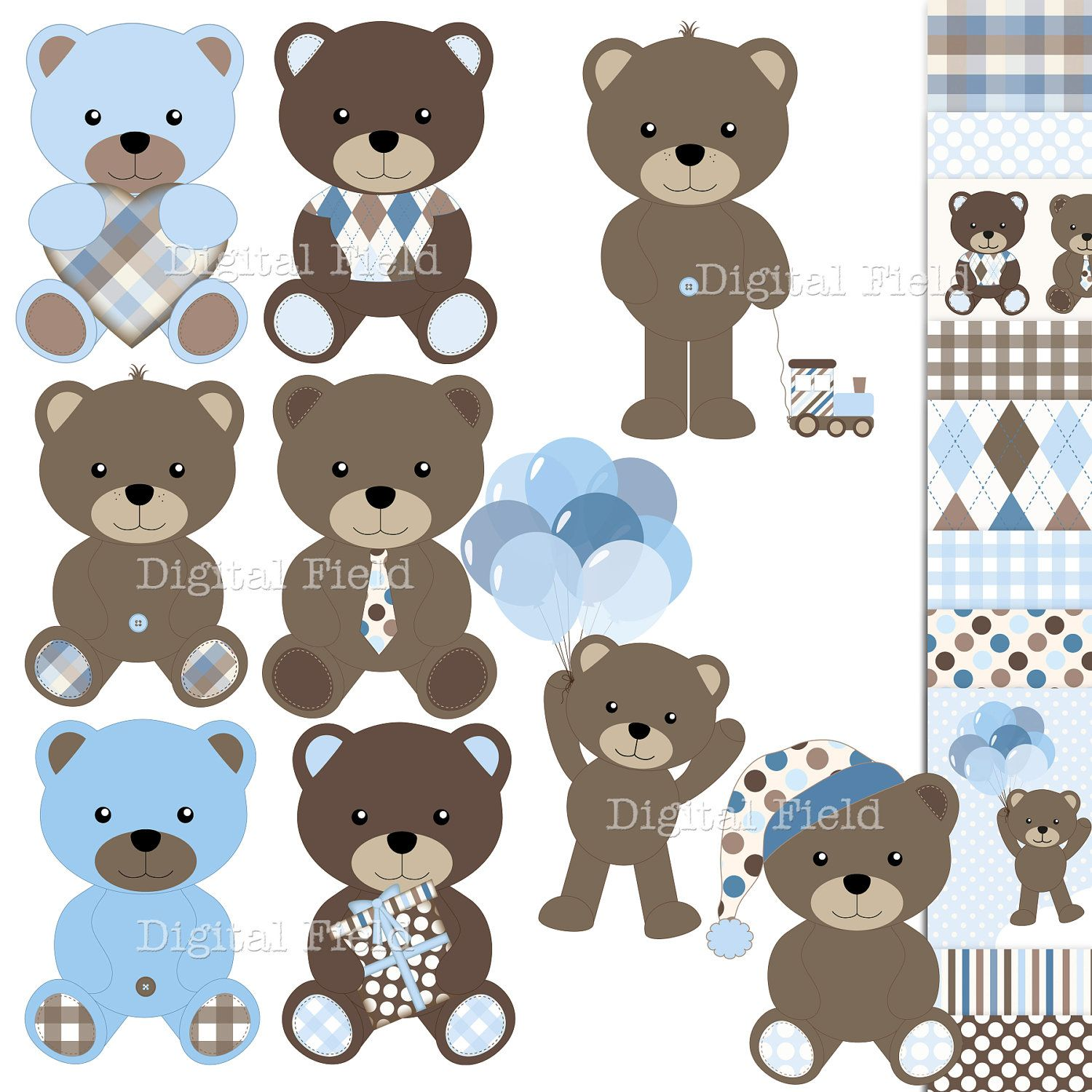 Baby Boy Teddy Bear Clip Art and Scrapbooking Paper Set - blue ...