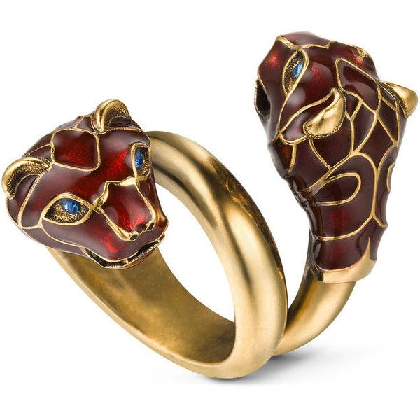 075c0e6d7 Gucci Tiger Head Ring With Enamel ($345) ❤ liked on Polyvore featuring  jewelry, rings, blue, chains jewelry, swarovski crystal jewelry, gucci  jewellery, ...