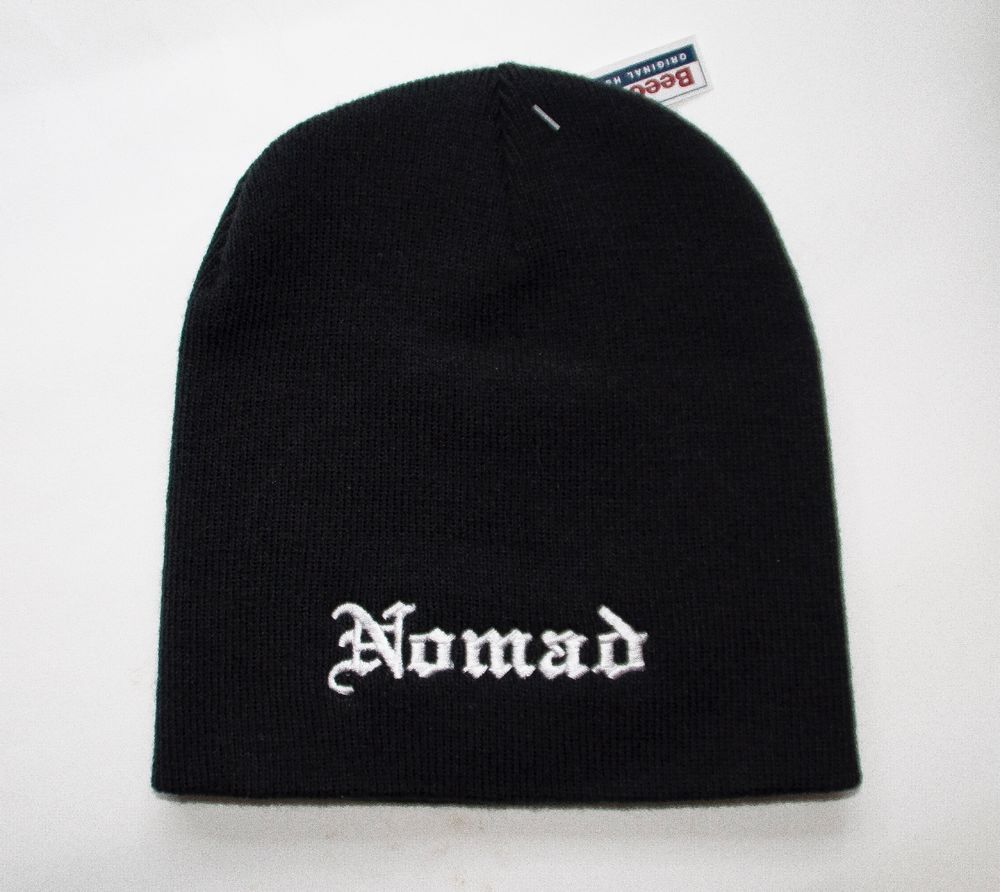 606958c02fc NOMAD EMBROIDERED MOTORCYCLE BEANIE HAT biker outlaw