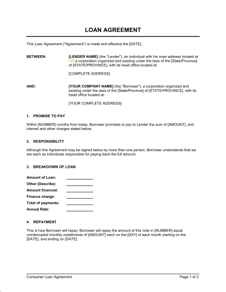 Printable Sample Business Loan Template Form Laywers Template