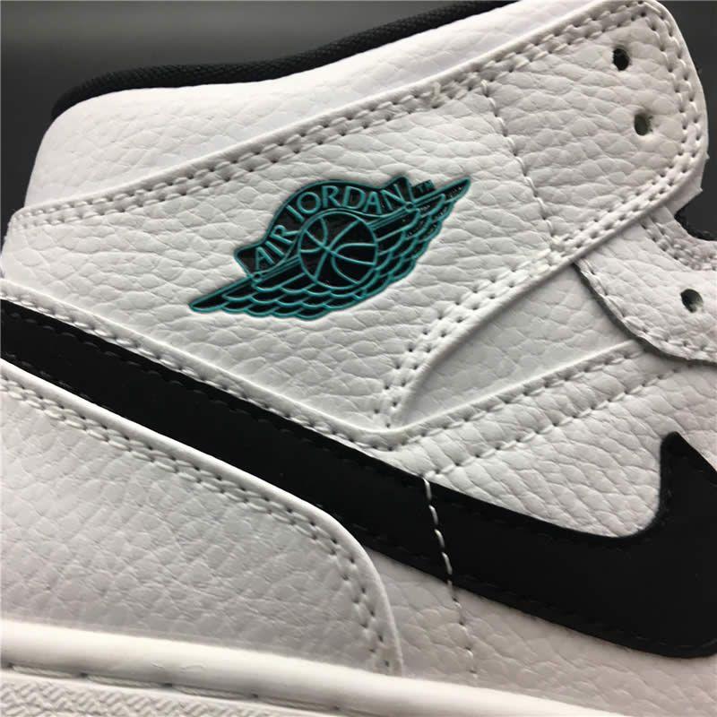 31d6aa8736c196 Air Jordan 1 Mid GS Womens  Hyper Jade  AJ1 Black White Green 554725 ...