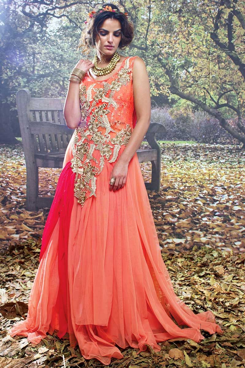 Orange And Pink Net Brasso Embroidered Work Partywear Gown Price  195.37  Get Trendy And Beautiful e40ad2464