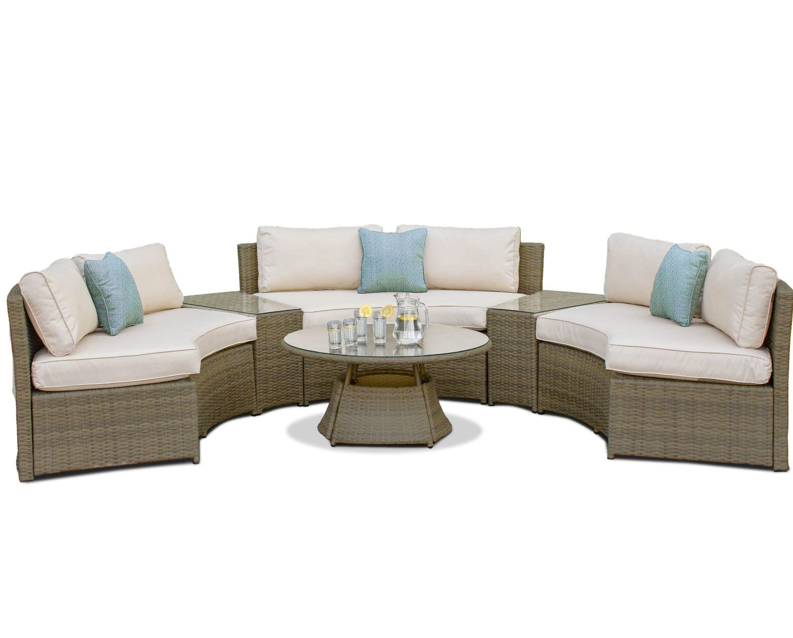 Maze Rattan Garden Furniture Tuscany Half Moon Sofa Set In 2020
