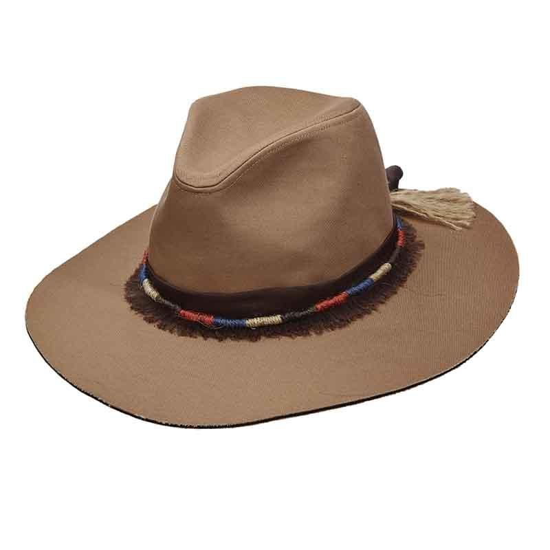 717f0109faa153 Scala Pronto canvas safari style hat. Fringed chiffon band with colorful,  twisted jute overlay. Flat, slightly floppy 3.75