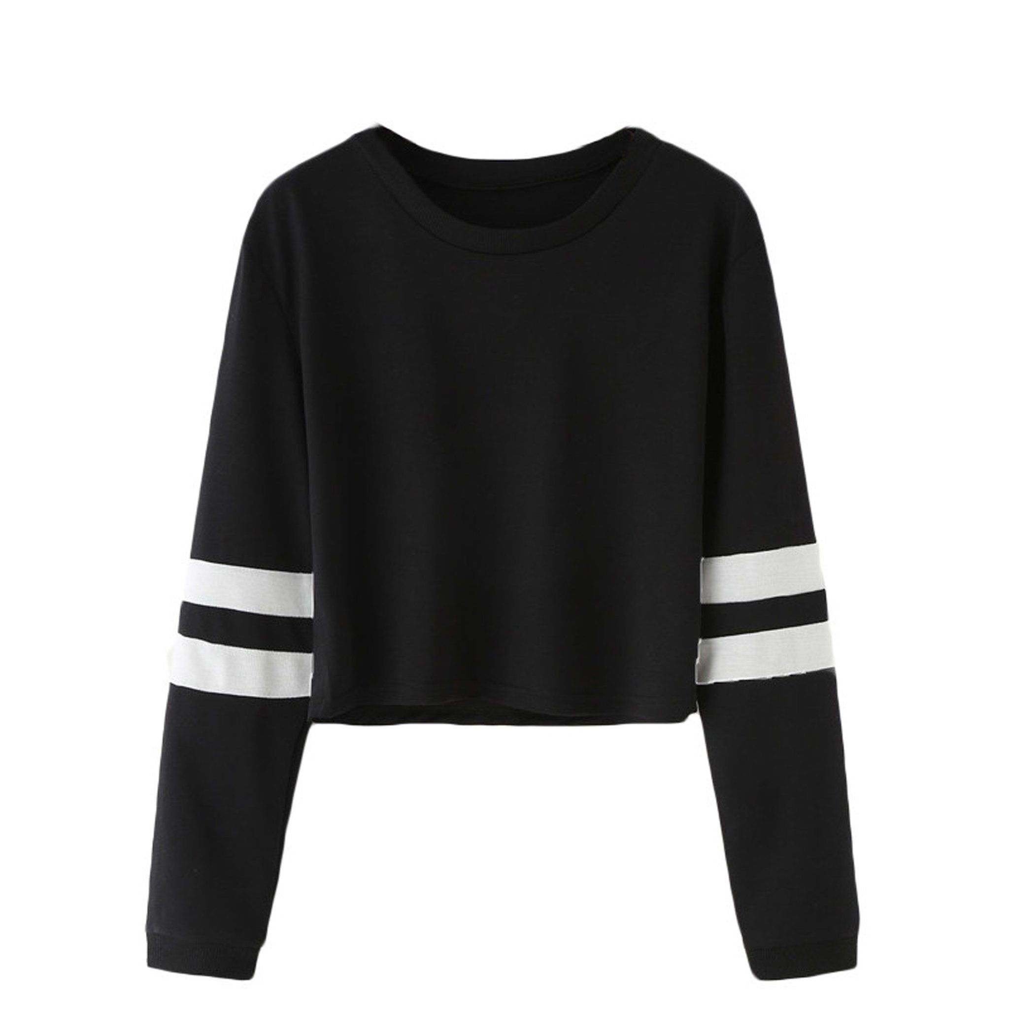 7dd1d1e075868 Cute Casual Back to School Outfit Ideas 2018 for Teen Girls 2018 - Double  Striped Varsity Cropped Top Sweatshirt - Lindas ideas casuales de regreso a  la ...