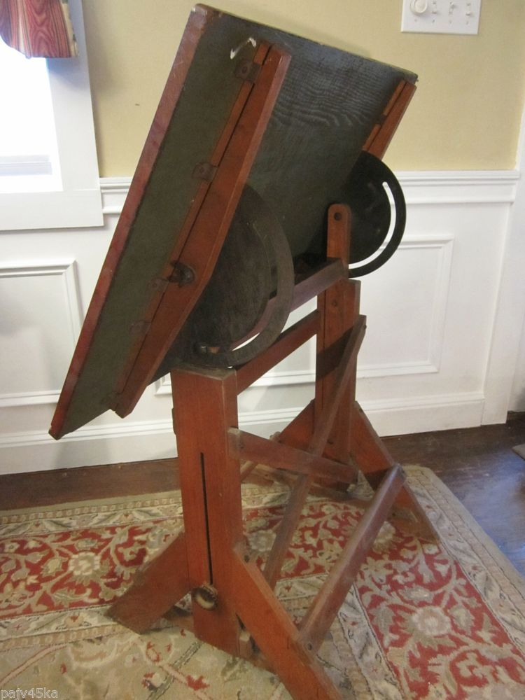 ANTIQUE OAK DRAFTING TABLE