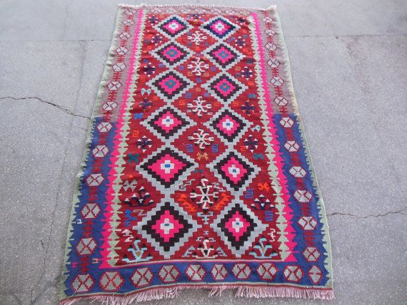 Pink Kilim Rugs With Navy And Red Colours Modern Boho By