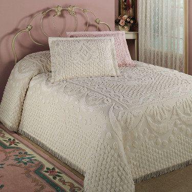 Kingston Beige Or White Chenille Bedspreads Chenille Bedspread Bed Spreads Bedroom Vintage