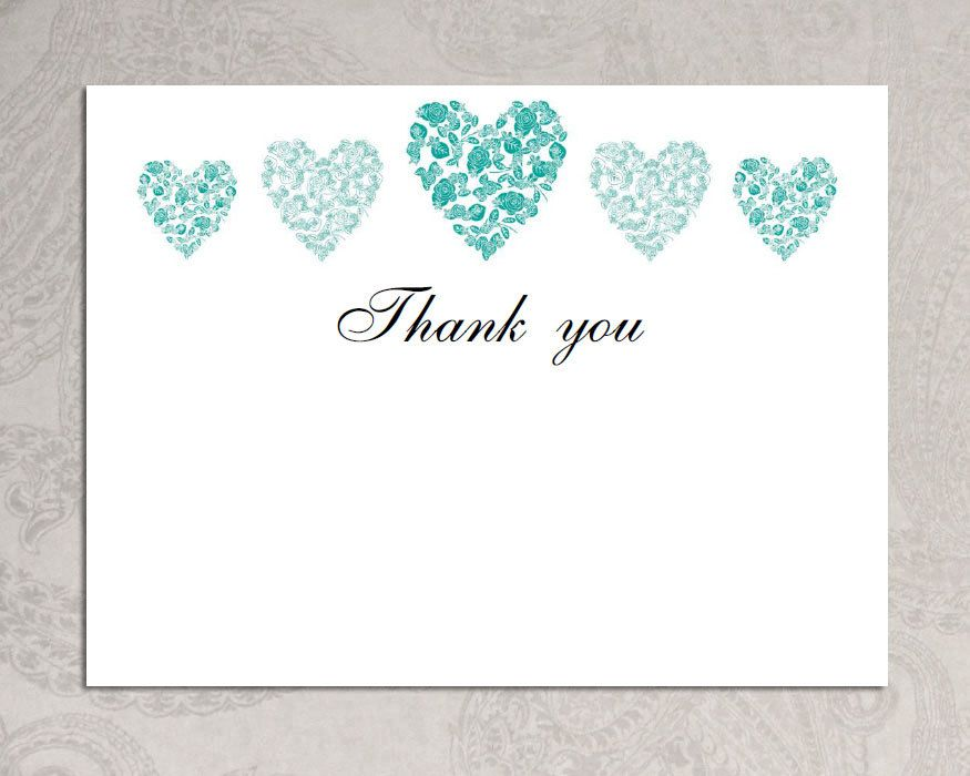 Thank you card template (trio of hearts) u2013 Download PRINTABLE - microsoft word thank you card template