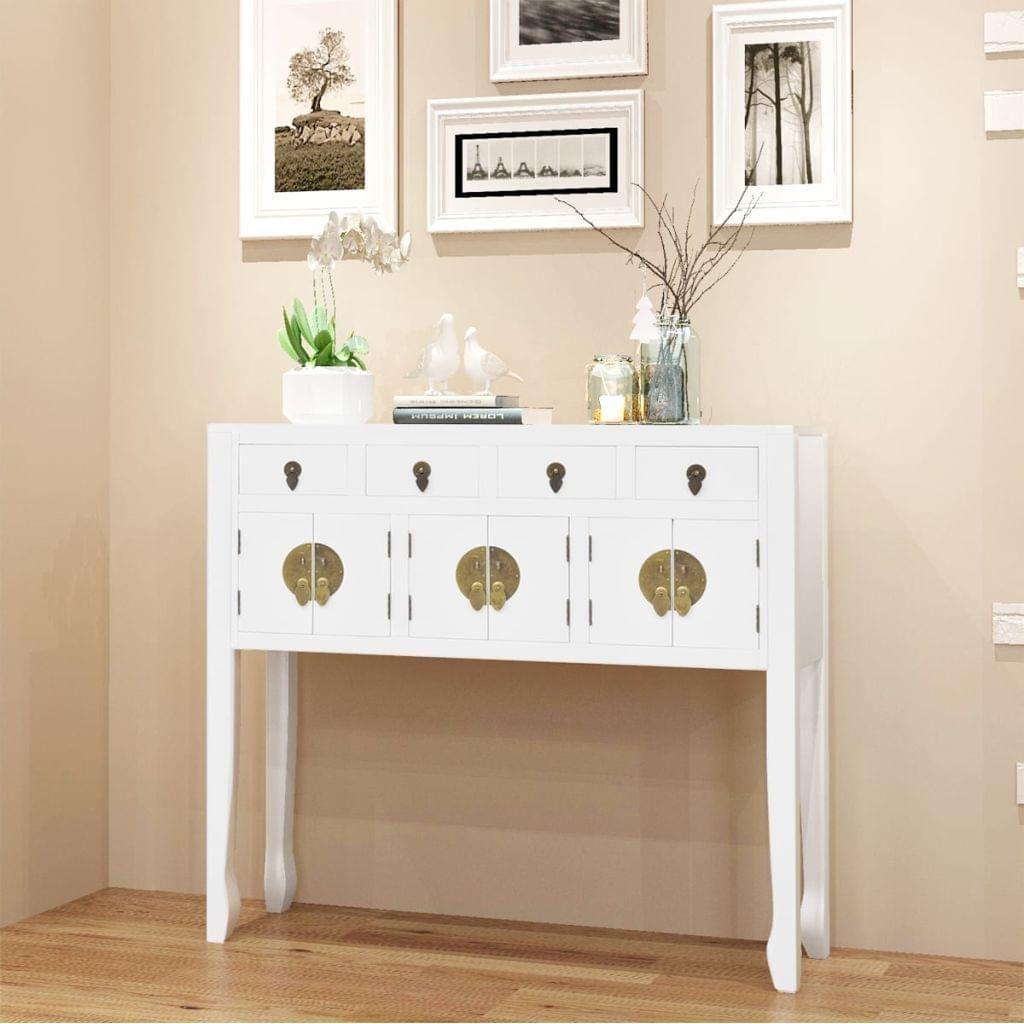 Dieses Weisse Sideboard In Auffallendem Asiatischen Design Ist Eine Hervorragende Wahl Wenn Sie Ihre Sache Anrichte Weiss Weisser Konsolentisch Holz Wohnzimmer