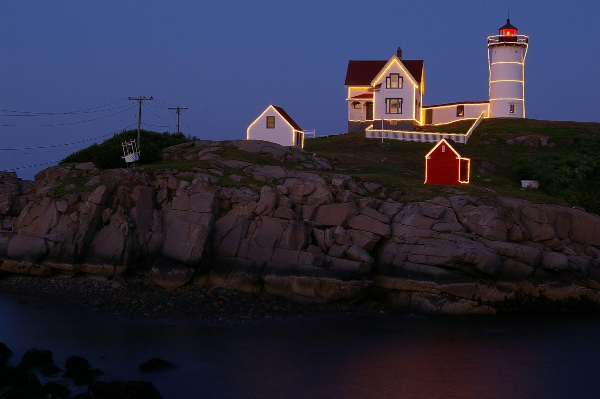 Nubble Lighthouse, York Beach Maine, Christmas in July lights ...