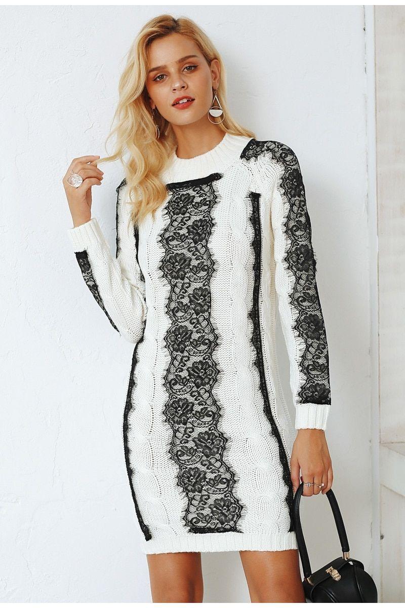 c00b4580e93 O neck twist knitted sweater winter dress in 2019