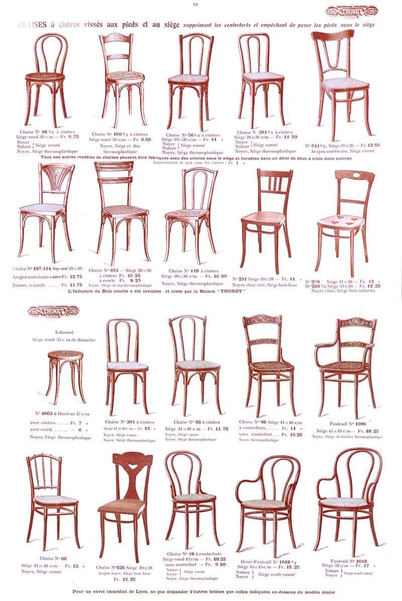 Epok thonet page des chaises du catalogue thonet 1914 seating chairs - Technique de la chaise ...