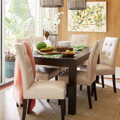 Ivory Dining Room Chairs Gorgeous Mason Ivory Dining Chair With Espresso Wood  Dining Chairs Review
