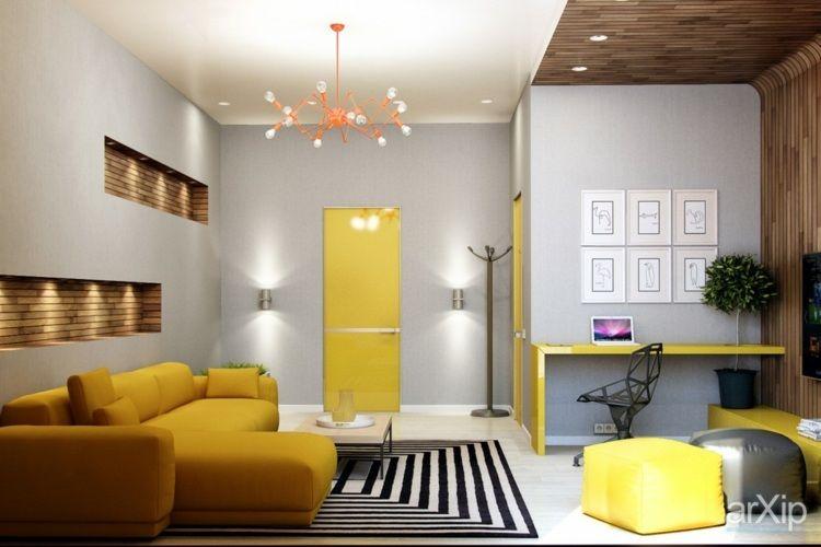 Gelbe Innentüre und Möbel an hellgrauen Wänden Wohnzimmer gelb - wohnzimmer gelb grau