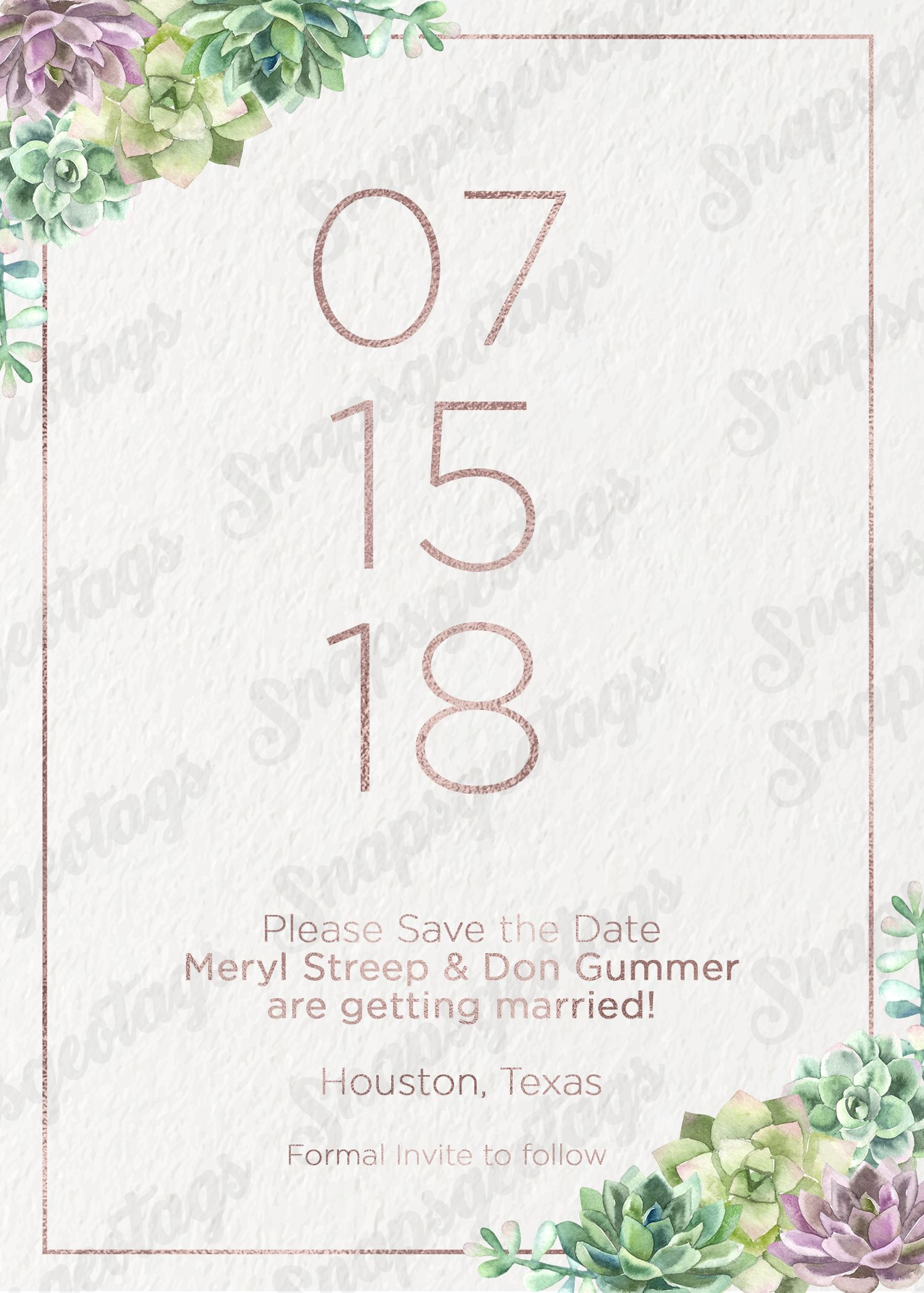 Save The Date, Succulents And Rose Gold Faux Foil Texture